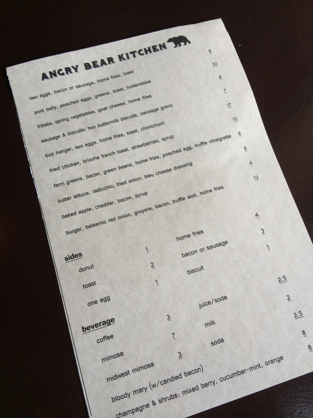 Angry Bear Kitchen Brunch Menu