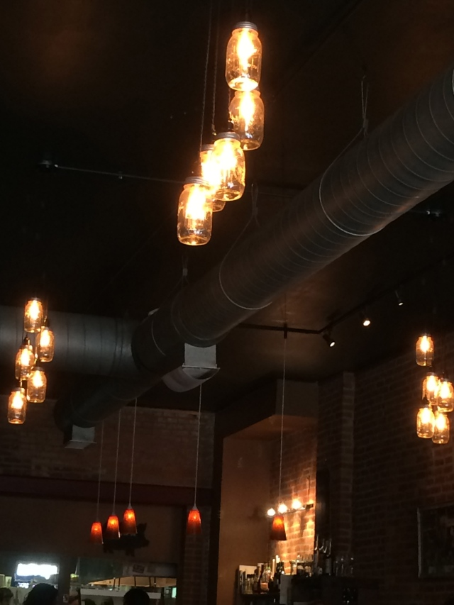 Mason jar lights  at Angry Bear Kitchen