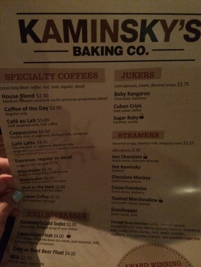 Kaminsky's menu, Charleston, SC